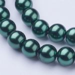 Glass Pearl Beads Dark Green 8mm